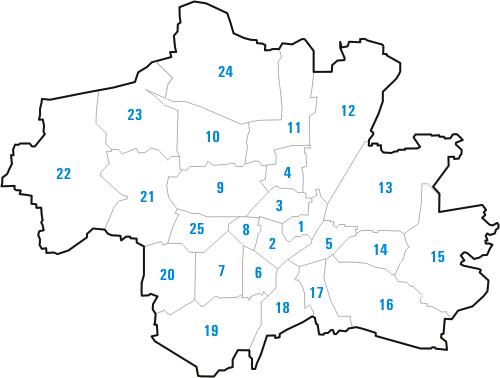 Stadtteile von München in der geographischen Übersicht